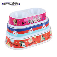 2016 New Dog Bowl Melamine Oval Double Bowl Color Dog Food Bowl 3 Size Bowls For