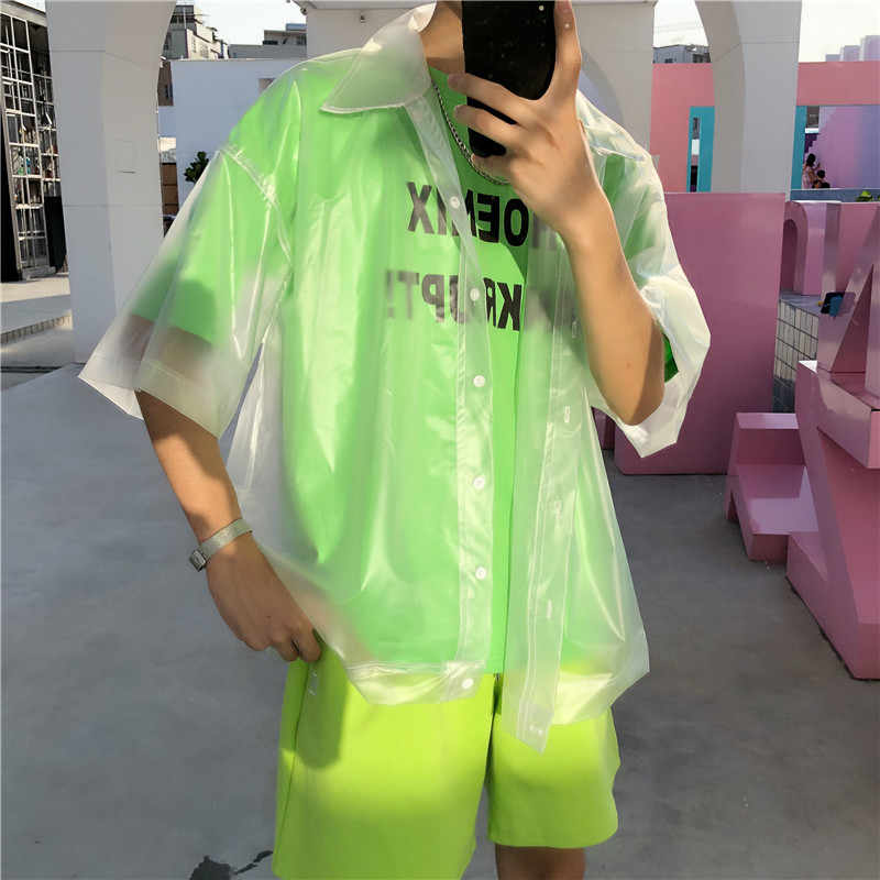 Nieuwe Mannen Plastic Transparante Korte Mouwen Waterdichte Jas Mode Tij See Through Clear Pvc Chic Shirts