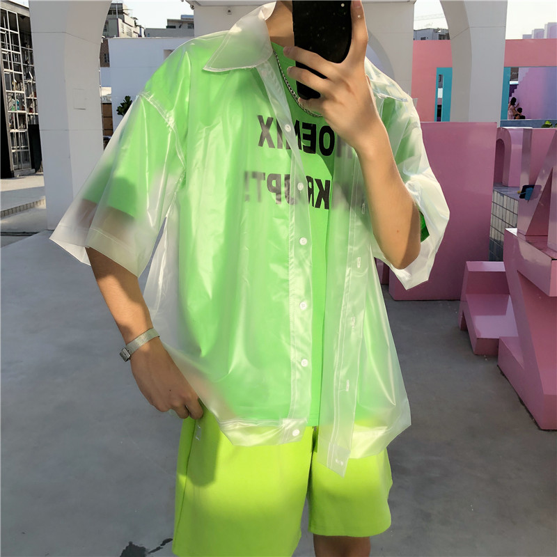 New Men Plastic Transparent Short-sleeved Shirt Waterproof Jacket Fashion Tide See Through Clear Pvc Chic Shirts