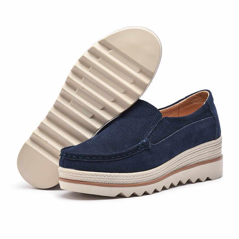 1da944f5e ... Plardin/Новая женская обувь на плоской платформе монета Лоферы замша  кожа слипоны Moccains женские весенние ...