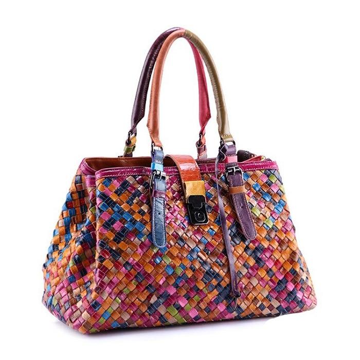ФОТО Famous Luxury Handmade Sheepskin Women Handbags Genuine Leather Knitting Bag Patchwork Handbags Women Brands Designer Tote Bag
