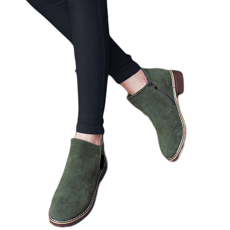 Chaud Green Femmes Daim Chaussures Martin Dames Européenne Bottes Classique army Cheville Black Cuir 35 Hiver 40 Automne Solide Neige En Zipper red Hot brown qSw7Apn