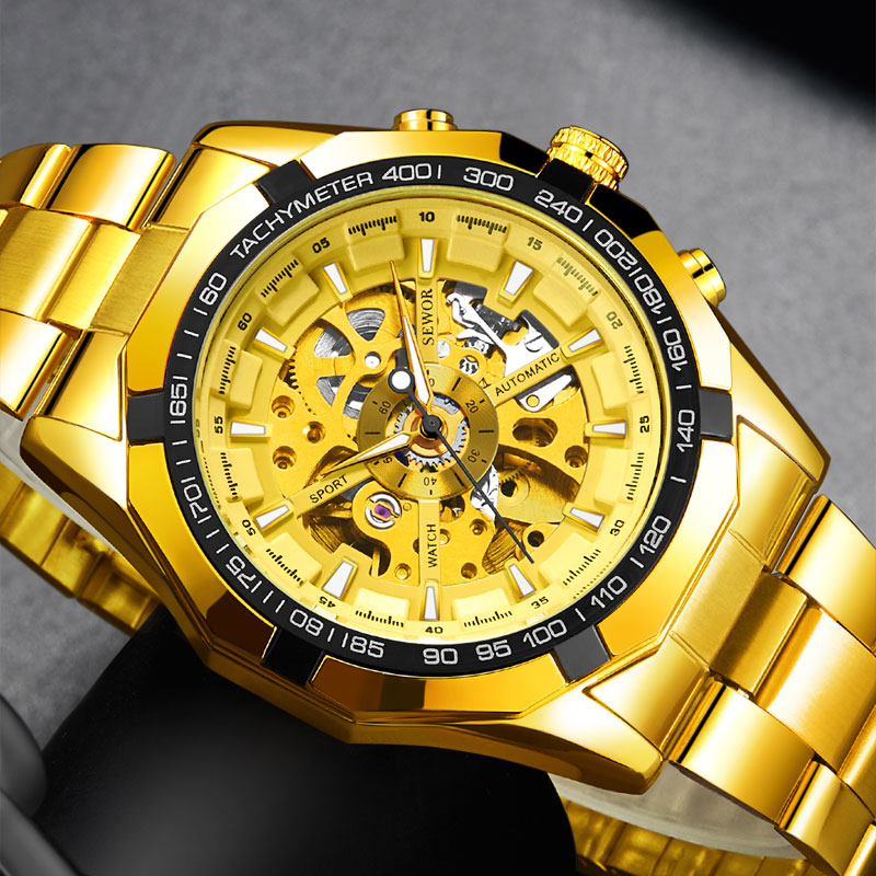 SEWOR Sport Gold Skeleton Mechanical Watch Men Watches Stainless Steel Luxury Military Automatic Watch Men Relogio Masculino winner automatic mechanical watches men s gold luxury steel wrist watch men 2018 military sport skeleton military army clock