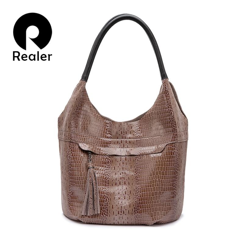REALER brand women genuine leather handbag tassel female shoulder bag luxury fashion designer bags messenger bags