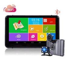 Android 7 дюймов DVR Cam Автомобильный камера заднего вида gps-навигация Bluetooth WI-FI quad-core грузовик gps Россия/Европа Две камеры
