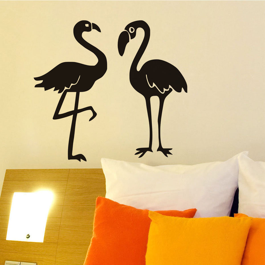 Two Flamingo Birds Wall Stickers For Kids Living Room Wall Decor ...