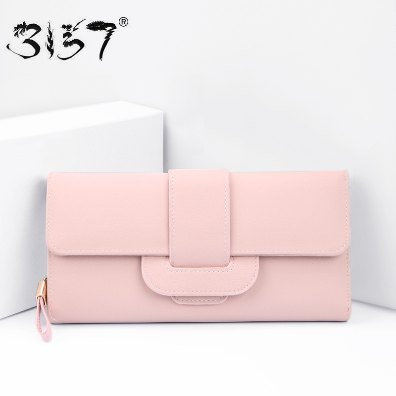 3157 Vintage PU Women Wallet Cell Phone Pocket Female clutch Leather Long Purse For Girls Credit Card Holder Standard Wallets