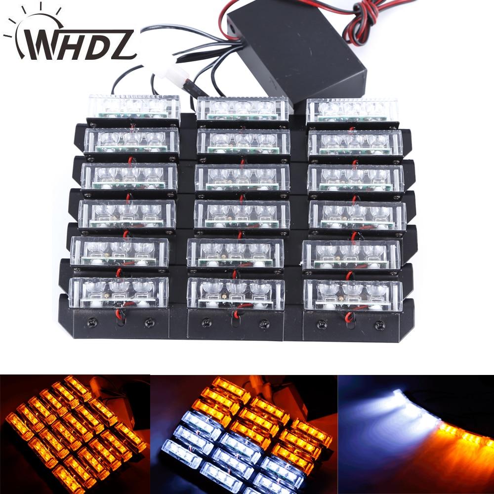цена на WHDZ 54W LED Car Led Emergency Strobe Flash Warning Light 54W Police Flashing Lights Warning Deck Dash Grille Amber/White