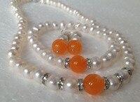 Encanto blanco perla cultivada de akoya/orange pulseras calcedonia collar pendientes establecidas joyería al por mayor y al por menor