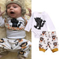 0-18M Newborn Children Clothes Baby Boys Girls Cute Monster Bodysuit Romper + Pant 2pcs Infant Bebes Rosherun Boy Clothes Set