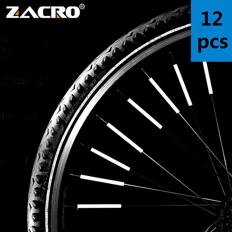 Zacro 12Pcs Bicycle Mountain Bike Riding Wheel Rim Spoke Mount Clip Tube Warning Light Strip Reflector Reflective Outdoor 78mm