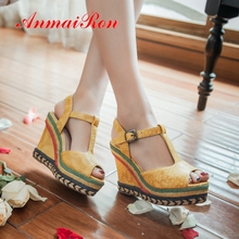 AnmaiRon Gladiator Casual women summer fashion super high platform sandal bohemia  Fashion Solid shoes size 34-43 LY2455