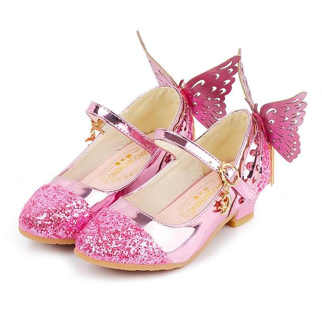Summer Children Girls Shoes Glitter Princess High Heels Sandals Pink Dance  Weddings Kids Fashion Butterfly Crystal Leather Party 89aa263bc3a1