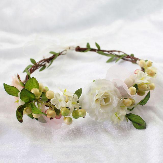 Favoritos Coroa de flores Menina Flor Cabeça Coroa de Noiva Acessórios Para  KW02
