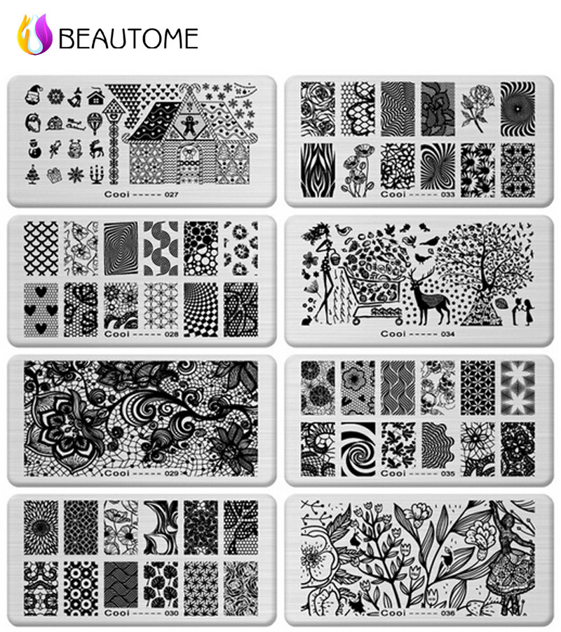 6 12cm Stainless Steel Nail Art Sting Plates Geometric Patterns Monroe Madonna Sports Nails Template St For Stickers In Templates From