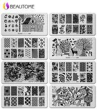 6*12 cm Nail Art Stamping Placas de Acero Inoxidable patrones Geométricos Monroe Madonna Deportes Plantilla Sello para pegatinas de Uñas