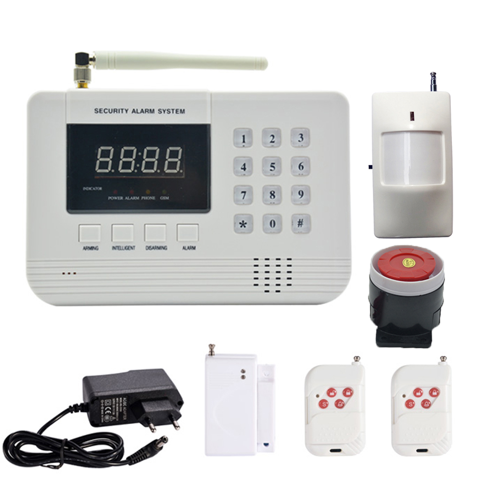 1 Set Hot Sale Security Home GSM Alarm System PSTN Burglar Network Wireless PIR Motion Detector Door Contact Sensor For Personal