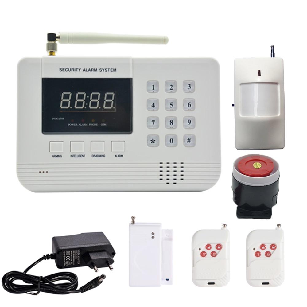 1 Set Hot sale Security Home GSM Alarm system PSTN Burglar Network Wireless PIR Motion detector Door contact sensor for personal