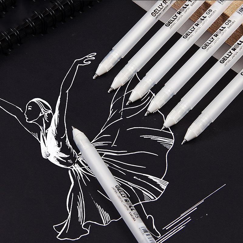 Black Card White Highlight Marker Pens Art Hand-painted Pen Sketch Pens For DIY Drawing Graffiti Art Supplies School Stationery