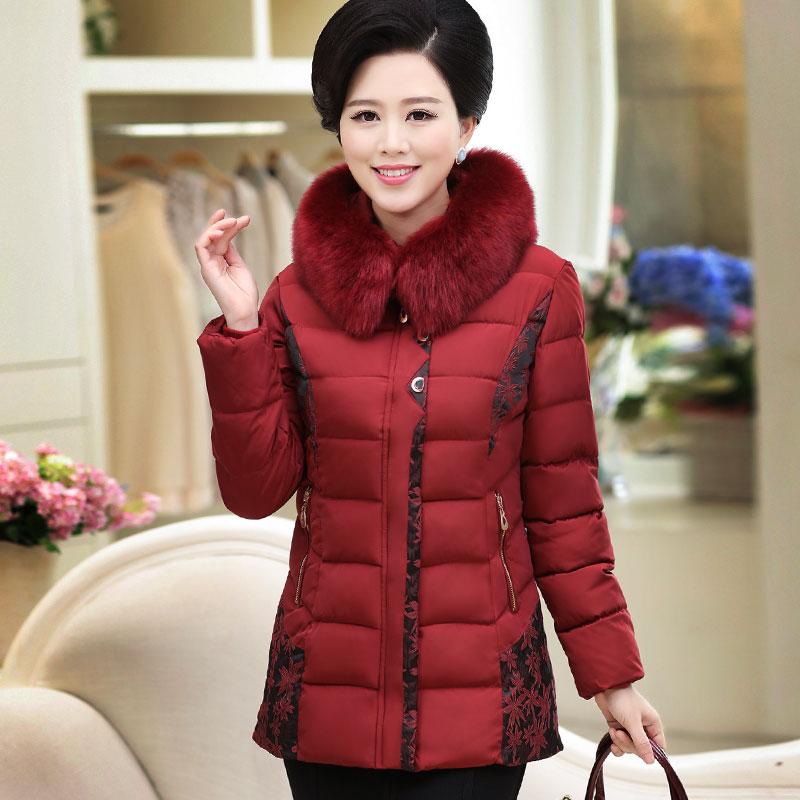 2019 In the elderly women s winter cotton down jacket Mianling thicker coat long code Mianao