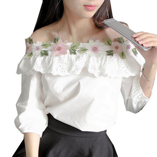 Lovely Splice Lace Blusas Slash Collar Three Quarter Sleeve Women Shirt Girlish Floral Embroidered Blouse Fashion Hollow Tops