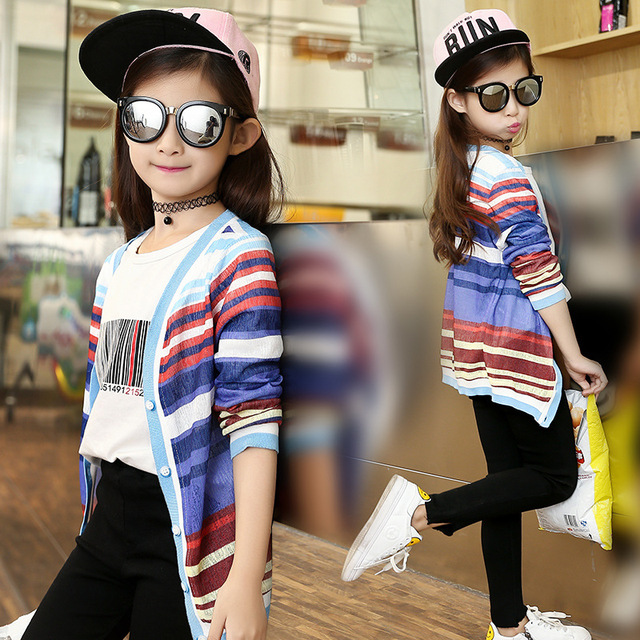 69034f816 2018 Spring Autumn New Style Kids Girls Casual Rainbow Striped ...