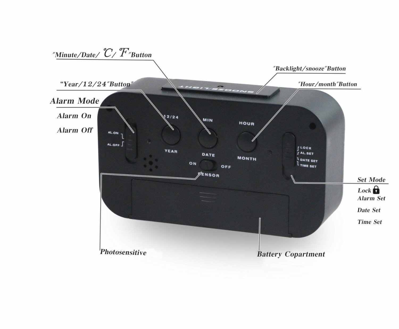 Новый цифровой будильник для студента часы большой ЖК-дисплей Повтор электронные детские часы-фонарик сенсорный ночник настольные часы
