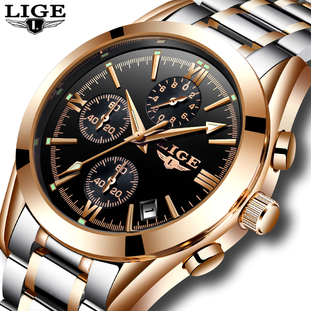 LIGE Men Top Luxury Brand Military Sport Watch Men's Quartz Clock Male Full Steel Casual Business gold watch