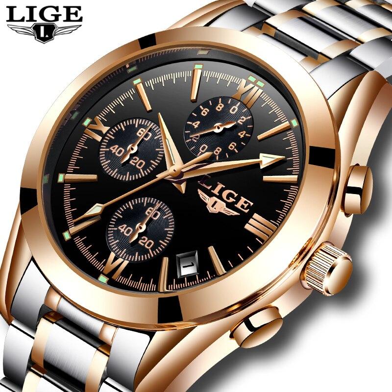 Relogio Masculino LIGE Для мужчин Топ Элитный бренд военные спортивные часы Для мужчин кварцевые часы Мужской полный Сталь Повседневное Бизнес золотые часы