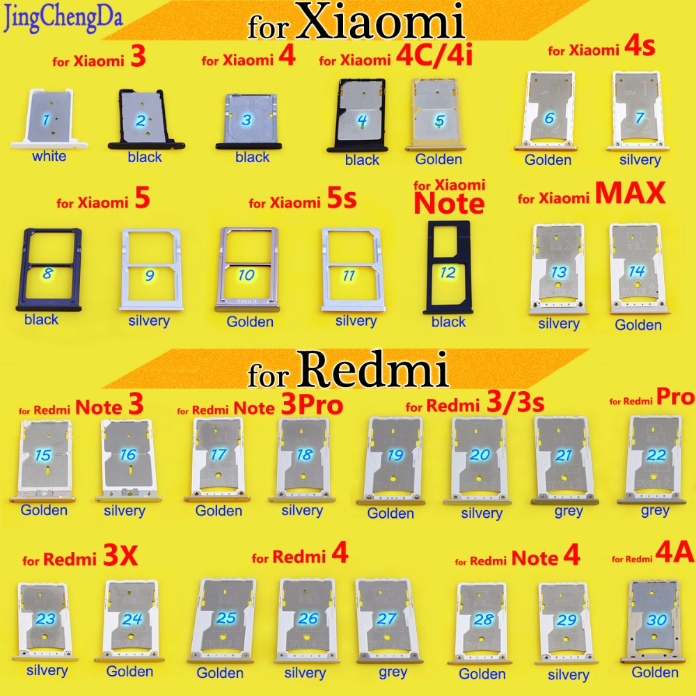 JCD New <font><b>SIM</b></font> Card <font><b>Slot</b></font> Tray Holder Adapter For Xiaomi 5/5s Note for Redmi Note 4 for Redmi Pro 3 3s 3X 4 4A Replacement image