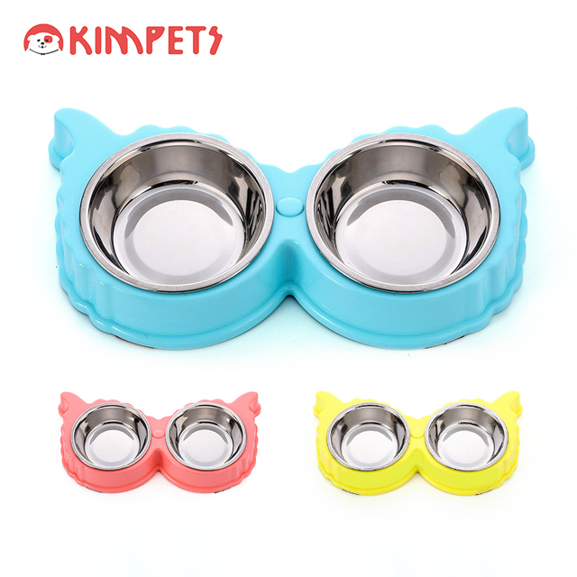 Double Dog Food  Stainless Steel Pet Bowls with Plastic Rubber Stand Cartoon Shaped Dogs Bowl Food Water Combo Pet Feeding Bowl