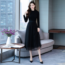 Autumn Knitted sweaters Mesh Patchwork Dress Women Bodycon C