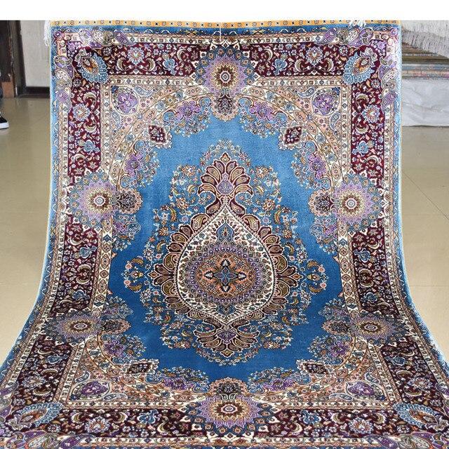 Mingxin 3x4,5 füße Blaue Blume Luxus Handgeknüpfte Seiden Persische ...