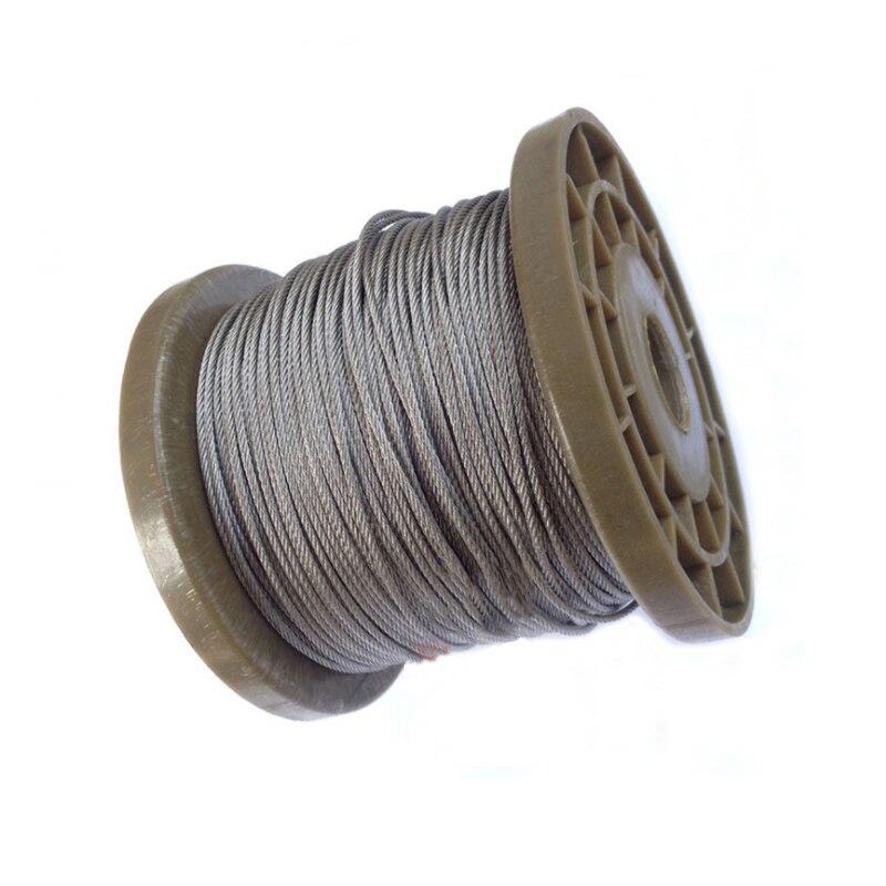 100 mètre 304 acier inoxydable fil nu câble de levage ligne corde à linge antirouille 0.6/0.8/1/1.2/1.5mm 2mm 7*7 structure