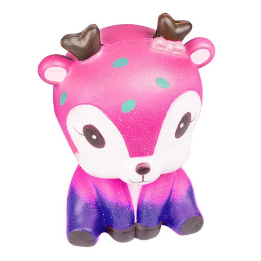 Original Kawaii 11.5cm Galaxy Cute Deer Cream Scented Slow Rising Skuishy Strap Kids Toy Gift  Collection Cure Gifts 7.4