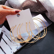 3Prs/Set Gold Hammered Metal Big Bamboo Round Hoop Earrings Summer Fashion Women Bridal Party Wedding Jewelry
