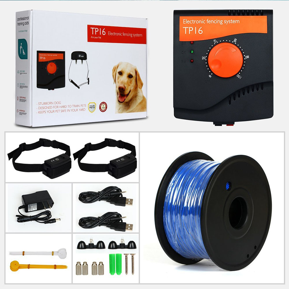 5625 Square Meters TP16 Pet Dog Electric Fence Waterproof Rechargeable Training Electric shock Dogs Collar Dog