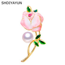 SHDIYAYUN New Pearl Brooch Enamel Flower Brooch For Women Chinese Style Brooch Pins Brooches Natural Freshwater Pearl Jewelry(China)
