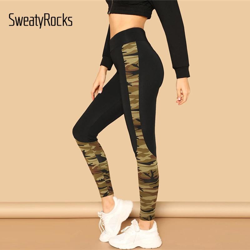 SweatyRocks Wide Waist Camo Print Skinny   Leggings   Fitness High Waist Active Wear Clothes 2018 Women Workout Camouflage   Leggings