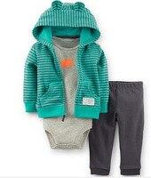 Baby Boy Girl Clothes Cotton Bebes Clothing 3pcs Normal Size Bodysuit Pants Set Kids Cardigan Clothes