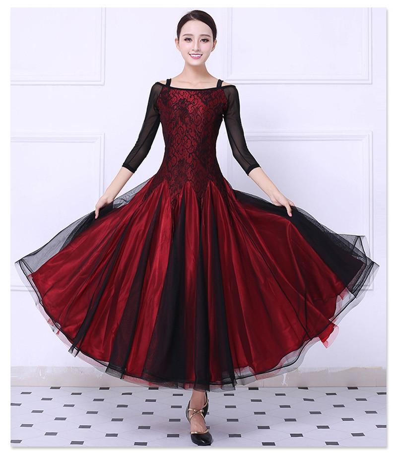 Balsal Konkurrens Dans Klänning Kvinnor Röd Tango Flamenco Waltz Dans Kjol Lady's Högkvalitativ Ballroom Dance Dresses