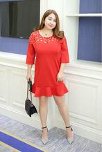 MINSUNDA New Party Plus Size XL-4XL Short Dresses Vestidos mujer Women Black/Red Laser Cutout Round Neck Ruffles Dress Big Size