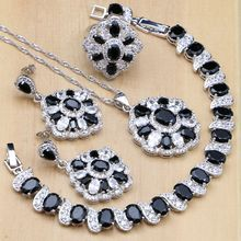 Natural Black Zircon Stones White CZ  925 Silver Jewelry Sets For Women Earrings/Pendant/Rings/Bracelet/Necklace