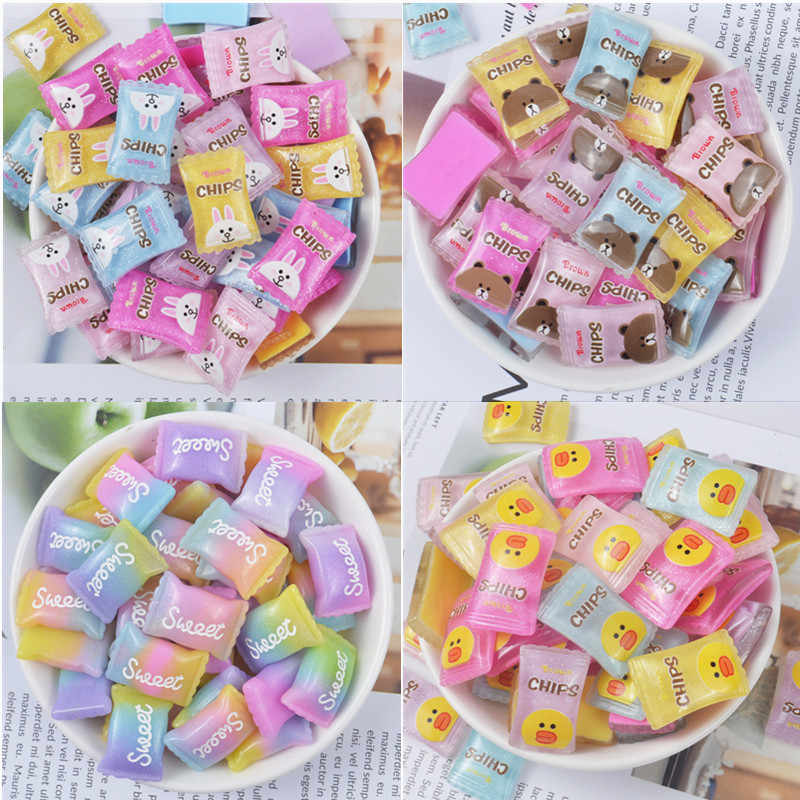 10Pcs Sweet Simulation Candy Flatback Resin Cabochons Accessories Fake Food Resin Cabochon DIY Scrapbooking Hair Bow Center