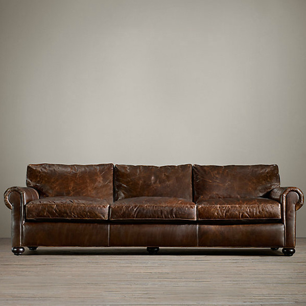 American Country Vintage Furniture Italian Superior Cowhide Sofa