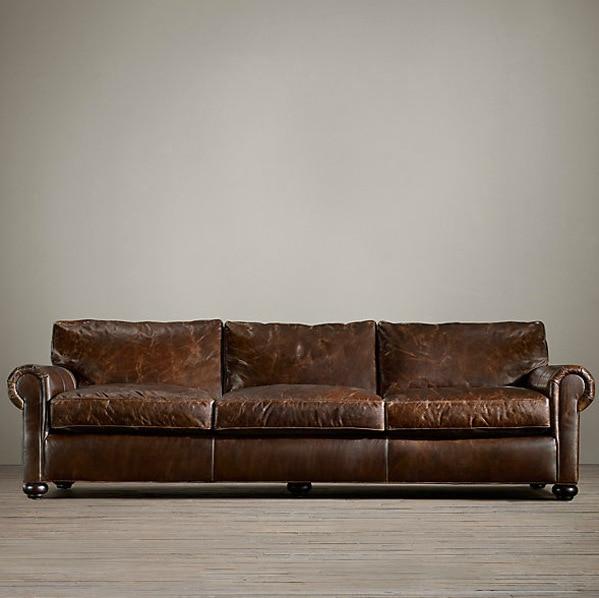 American Country Vintage Furniture Italian Superior Cowhide Sofa