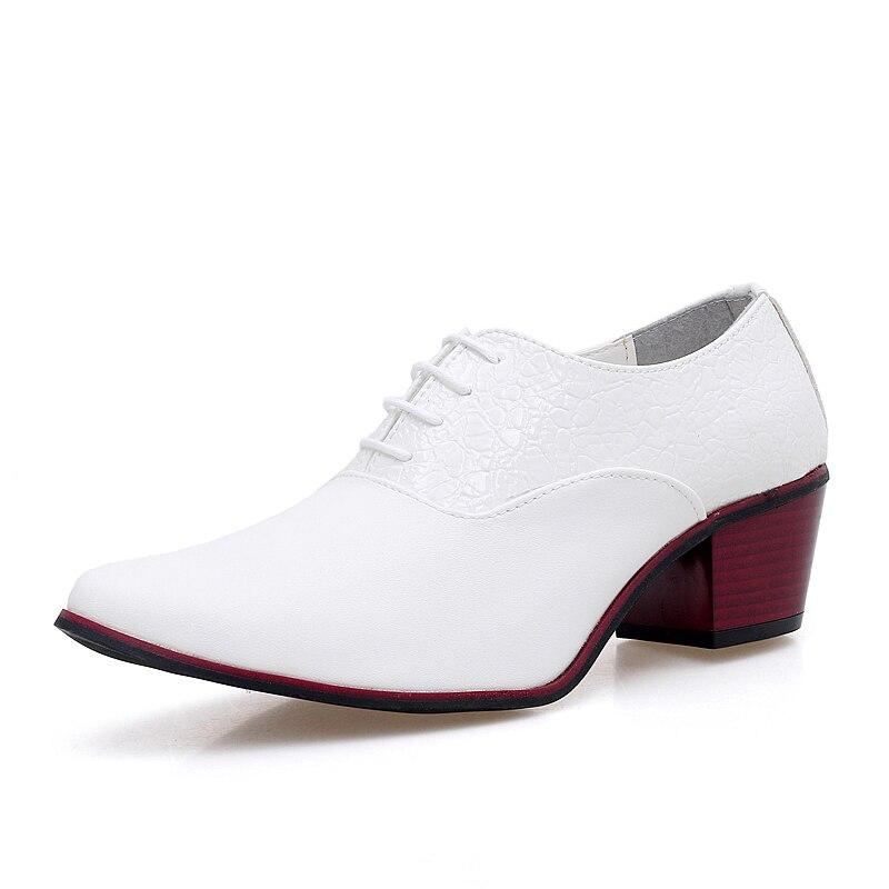 Mens Black White Wedding Shoes Gentleman 6cm High Heel