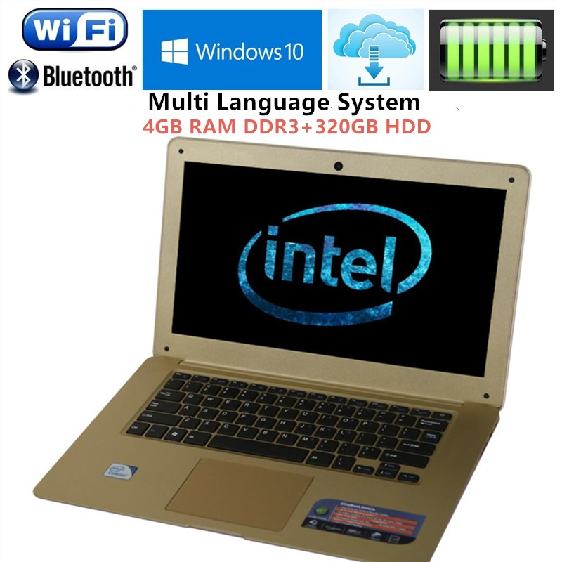 14.1 Inch Ultrathin Laptop Intel Pentium N3520 Quad Core 4G DDR3+320G HDD Wifi HDMI 1.3M HD Webcam Window 7/10 Notebook Computer