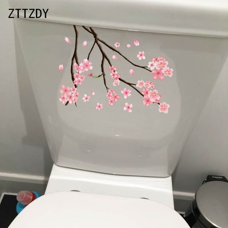 ZTTZDY 16.3*23CM Cherry Blossom Branch Modern Home Decor Wall Decals WC Toilet Stickers T2-0030(China)