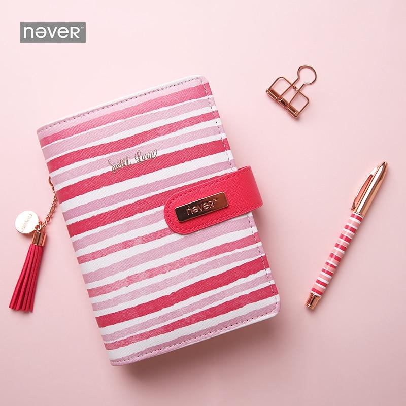 Cahier à spirale Never Stripe A6 Agenda personnel quotidien organisateur Agenda Kawaii papeterie emballage cadeau fournitures de bureau et scolaires